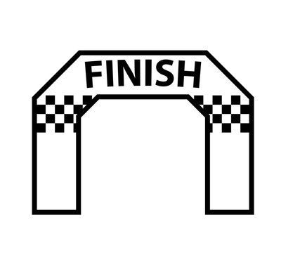 Inflatable finish arch outline icon. Clipart image isolated on white background