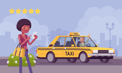 Good car and driver in taxi rating app system. Happy female passenger ranking with smartphone application vehicle, service quality, route, price, safety performance at five stars. Vector illustration