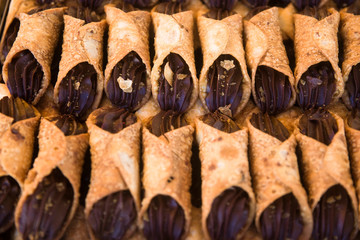 Traditional maltese cannoli on the market