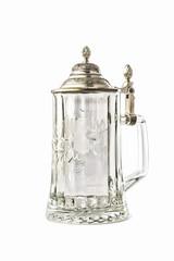 Vintage glass Beer Mug with metal cap