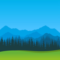 Vector Summer Landscape with clear blue sky. Scenic outdoor view, Silhouettes of Mountains and Forest.