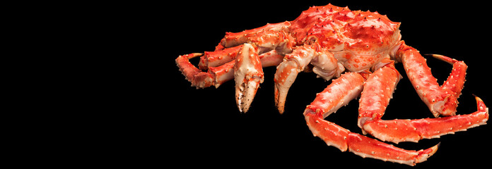 Large red king kamchatsky crab isolated on black background
