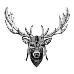 Deer wearing motorcycle, aero helmet. Biker illustration for t-shirt, posters, prints.
