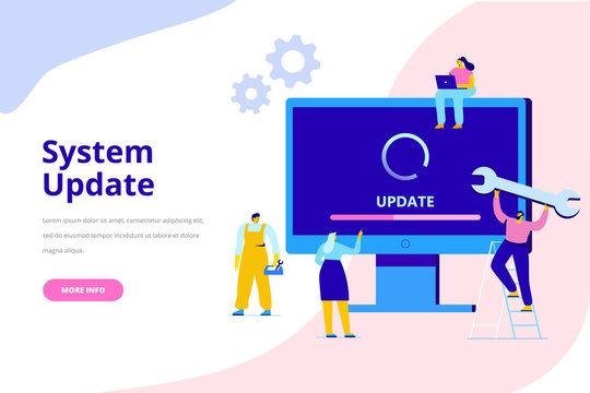 System update vector illustration concept. Desktop computer with update screen. Update process. Install new software, operating system, update support. Characters design