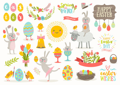 Set of vector cute Easter cartoon characters and design elements. Easter bunny, chickens, eggs and flowers.