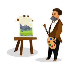 Artist Painting Landscape Cartoon Illustration