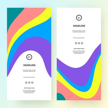 Bright Colorful Banners with Dynamic Abstract Lines. Vector Creative Pattern in Minimalist Retro Style