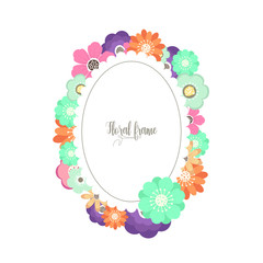 Elegant design illustration of floral frame template with text inside