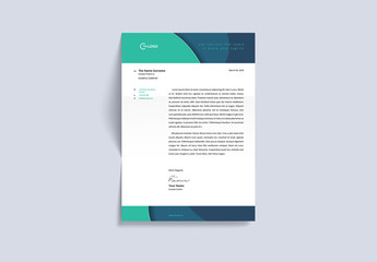 Letterhead Layout with Green and Dark Blue Accents