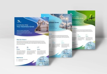 Flyer with Wavy Elements Layout
