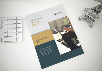 Brochure with Dark Gray Blue and Gold Accents Layout