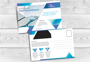 Postcard Layout with Blue Accents and Geometric Elements