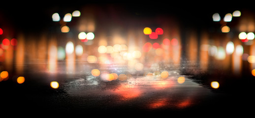 Wet asphalt, reflection of neon lights, a searchlight, smoke. Abstract street with smoke, smog. Night background, night city Abstract bokeh light, night bokeh.