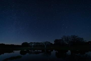 Night landscape in Arroyo de la Luz. Extremadura. Spain.