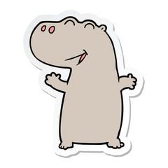 sticker of a cartoon hippopotamus