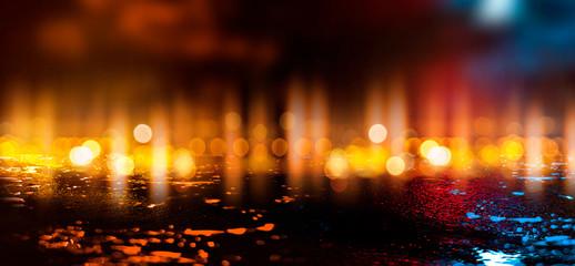 Wet asphalt, reflection of neon lights, a searchlight, smoke. Abstract street with smoke, smog. Night background, night city Abstract bokeh light, night bokeh. Wall mural