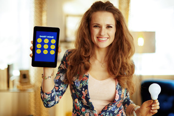 housewife showing tablet PC with smart home application and smar