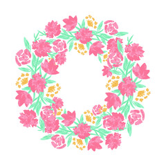 Floral wreath with red pink blooming flowers and leaves isolated on white background. Pretty garland. Design template for invitation, wedding or greeting cards. Vector
