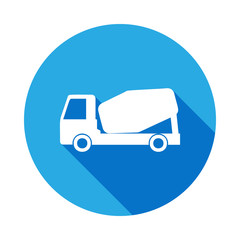 concrete mixer icon with long shadow. Premium quality graphic design icon with long shadow. Signs and symbols can be used for web, logo, mobile app, UI, UX