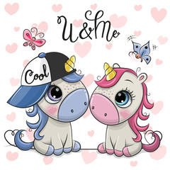 Two Cartoon Unicorns on a hearts background