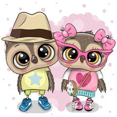 Canvas Prints Owls cartoon Two Cartoon Owls on a heart background