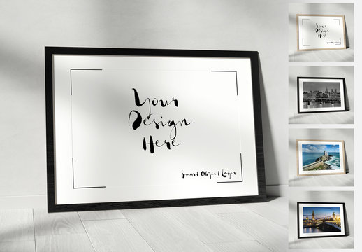 Horizontal Frame Leaning Against a Wall Mockup