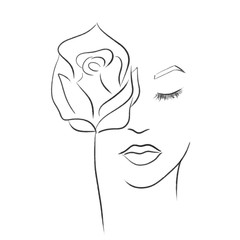 beautiful elegant woman with rose one line draw vector illustration