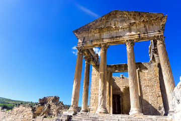 Front of the Capitol Ruins in Dougga, Tunisia