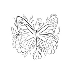 beautiful butterfly with flowers one line draw vector illustration