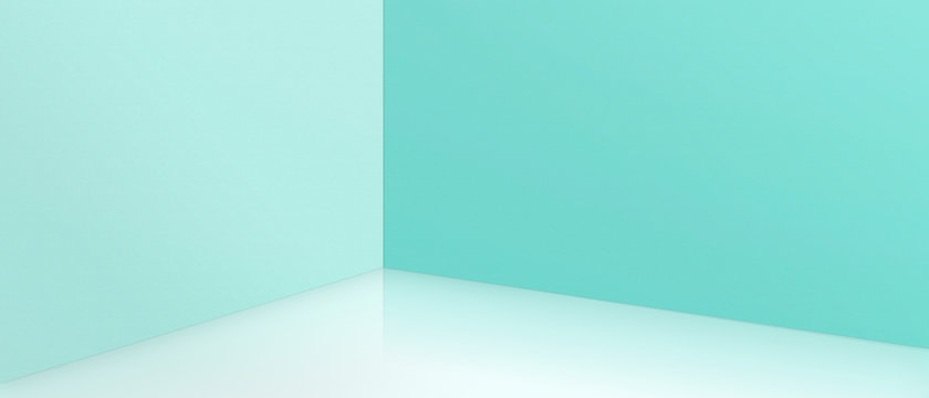 Empty corner with blue walls and floor. Empty room studio gradient used for background and display your product. 3d illustration