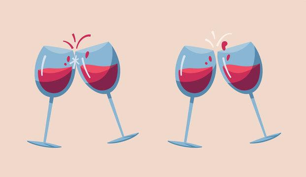 Two wine glasses. Cartoon vector illustration.