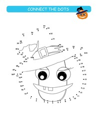 Connect the dots and color. Cute pumpkin. Cartoon vector Illustration of educational game.