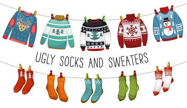 Ugly sweaters and socks collection. Christmas socks and sweaters for party, invitation, greeting card in cartoon style. Ugly sweater party elements. Vector Christmas decorations and clothing set.
