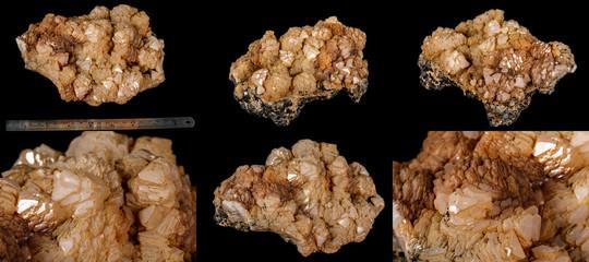 Macro Calcite mineral stone on sphalerite black background
