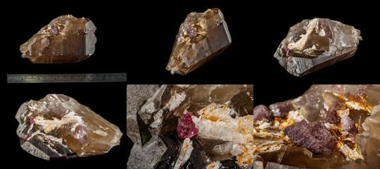 Macro mineral quartz mineral Tourmaline on Lepidolite black background