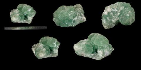 Macro mineral stone quartz fluorite black background