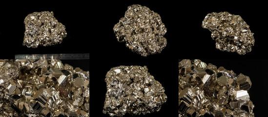 Macro mineral pyrite stone black background
