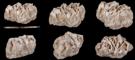 Macro mineral stone Calcite black background