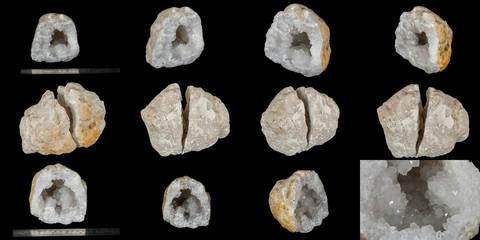Macro mineral stone Quartz geode black background
