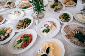 Catering service, food on table, salad with vegetables