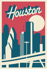 Fototapete - Houston skyline postcard