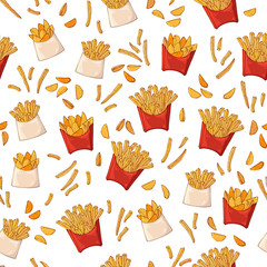 Vector pattern on the fast food theme: fast food potatoes.