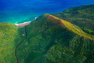 beautiful nature landscape in Kauai island Hawaii. View from helicopter,plane,top. Forest. Mountains. Ocean. View . Drone