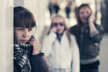 Teen girls on city street