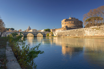 Bridge to the Saint Angel Castle over the Tiber river in Rome, Italy