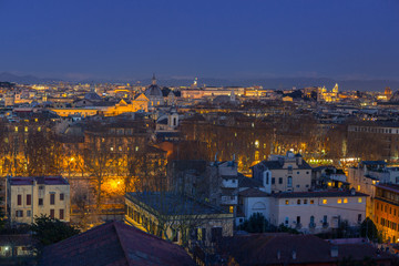 Panorama of Rome city at dusk with beautiful architecture, Italy