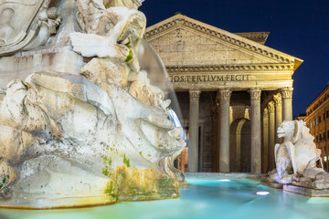 Fountain at the Pantheon temple in Rome, Italy