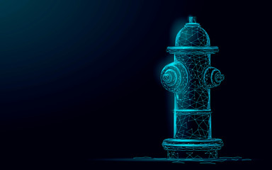 Fire hydrant low poly rescue technology concept. Polygonal blue emergency fireman equipment vector illustration