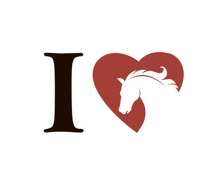 emblem of horse head in heart isolated on white background