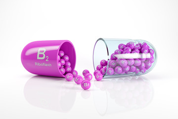 3d rendering of a vitamin capsule with vitamin B2 - riboflavin